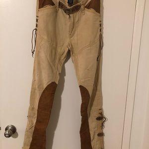 Ralph Lauren Canvas Leather Pant, 8